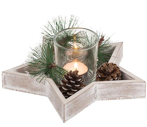 Julstjärna med värmeljus