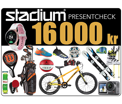 Stadium Presentcheck 16 000 kr