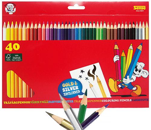 Träfärgpennor 40 st