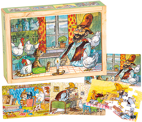 Findus & Pettsson 4 x träpussel